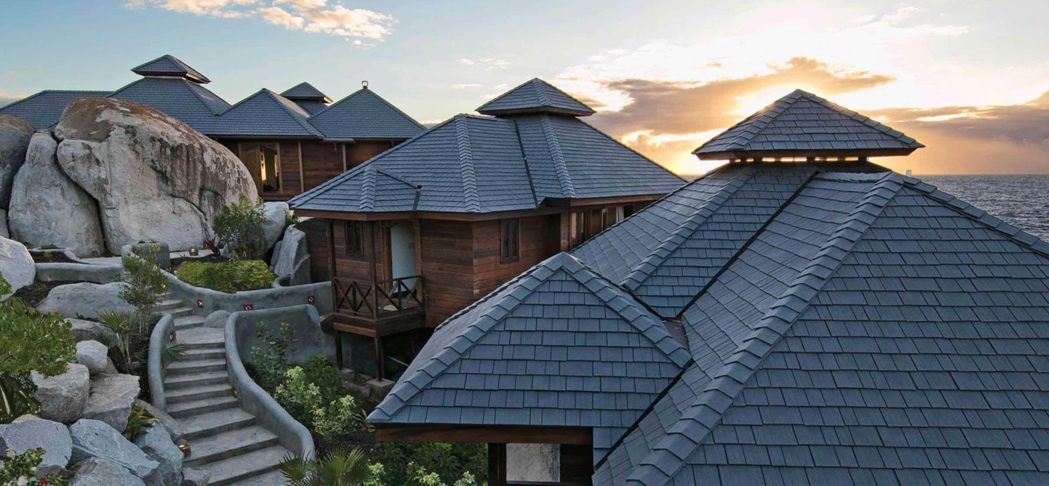 the batu villa at sunset