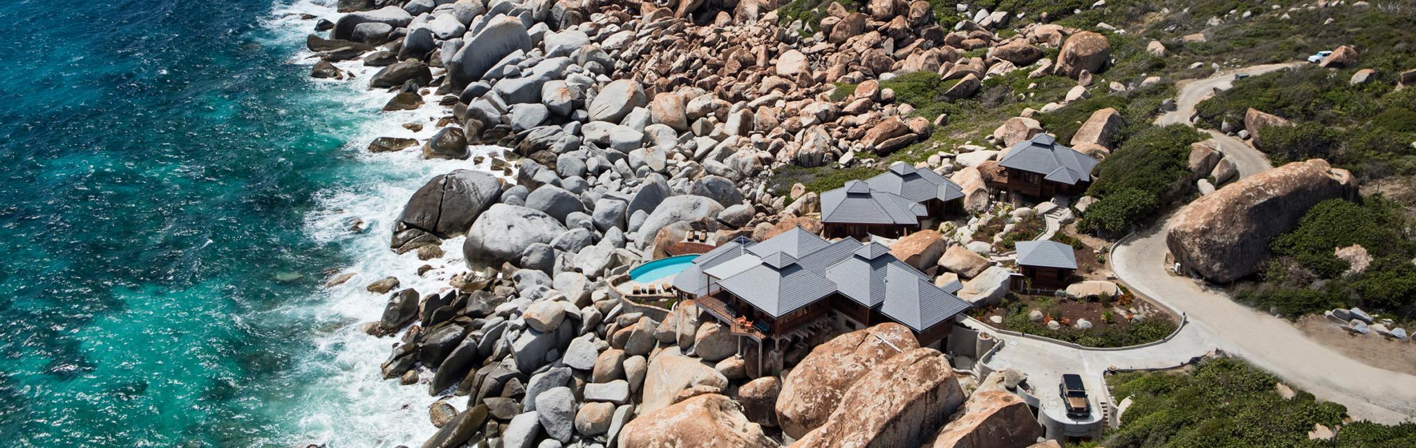 arial view of the batu villas on the beach
